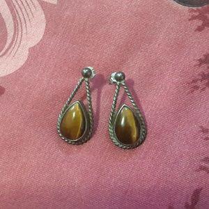 ❤Sterling Silver Tigers Eye Earrings