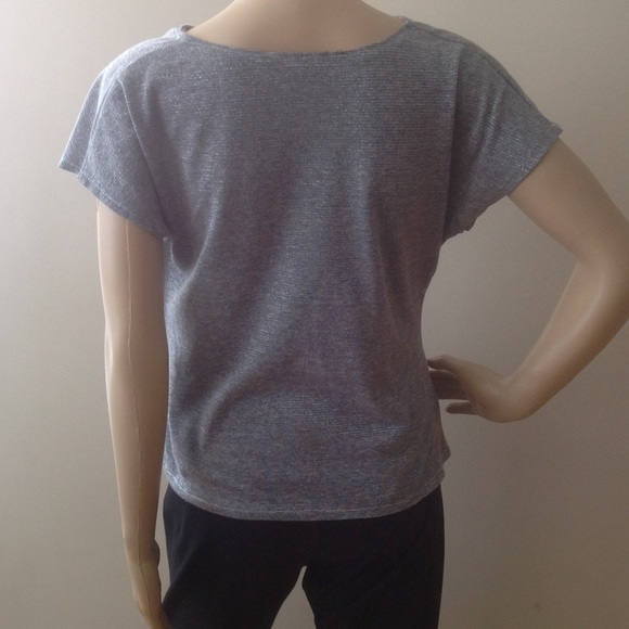 Tops - Gray with Silver Cowl Top