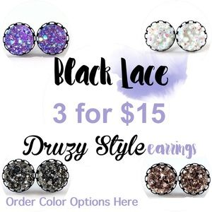 thejeweladdict Jewelry - 3 for 15🎀 faux druzy black Lace studs
