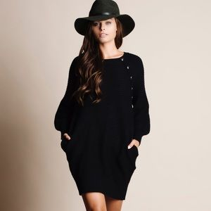 Faux Button Long Sleeve Sweater Dress