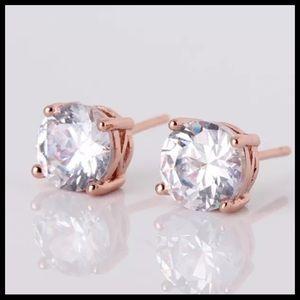 "Gold ""Diamond"" Stud Earrings"