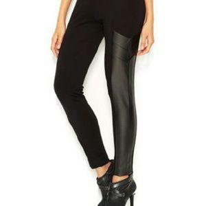 Bar III Pants - NWOT black leggings with vegan leather panels