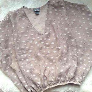 Dots Tops - Women's Brown Sheer Polkadot Shirt