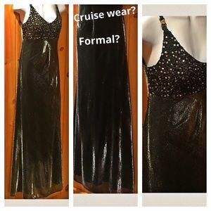 Blondie Nites Dresses & Skirts - NWOT shimmer silver 5/6 elegant long dress crystal