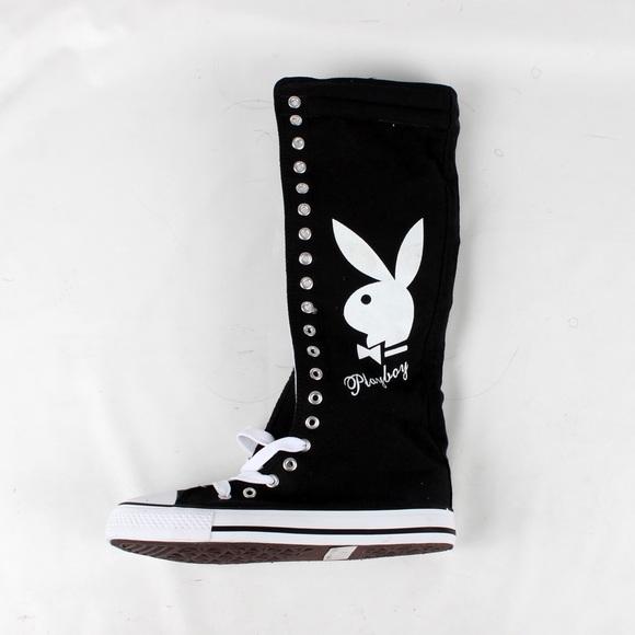 749ba2aea05 Playboy bunny knee high sneakers (PB1020 Black)