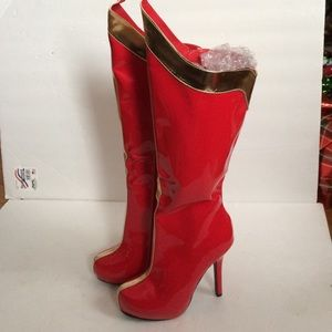 Ellie Shoes - Ellie Red.Gold Patent Knee High Boots 6 M