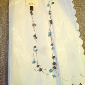 Cake Jewelry - C.A.K.E necklace gold with teal/ turquoise gems