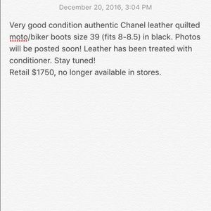 Authentic Chanel moto boots biker boots black 39