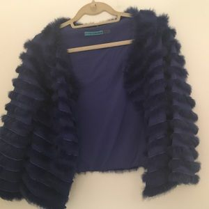 Worn once Alice and Olivia real fur blue jacket