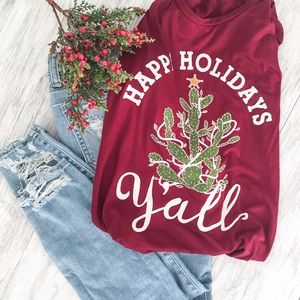 Jennifer's Chic Boutique Tops - Happy Holidays Y'all Tee