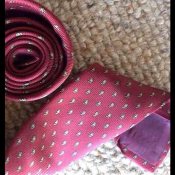 Vintage Other - Deep Red Paisley Print Skinny Tie Maroon & Yellow