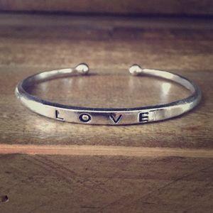 Jewelry - NWT Silvertone Love Cuff Adjustable Bracelet