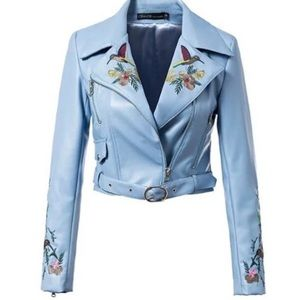 Luxe embroidered Moto jacket