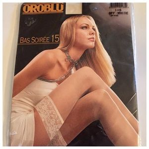 NWT Oroblu Italian Stay Up Stockings, Off White, S