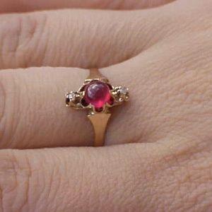 Jewelry - Antique 12k gold genuine ruby diamond ring