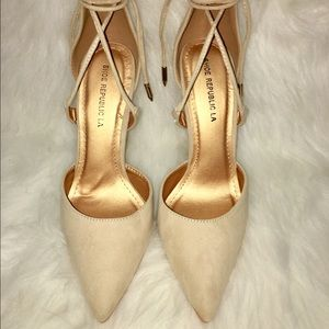 Nude, faux suede heels