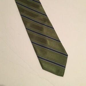 Tommy Hilfiger green & blue striped silk tie
