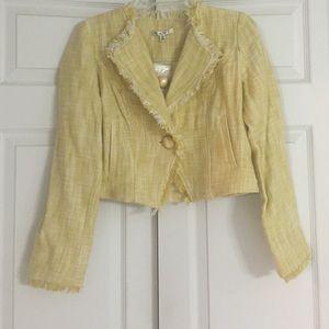 CAbi Yellow Daisy Statement Tweed Fringe Jacket