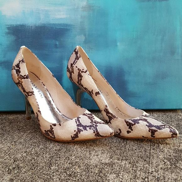 758b57a3d82c70 Gianni Bini Shoes - Gianni Bini Snakeskin Metallic Silver Heels 6M