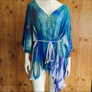 Brina & Em Paisley Blue Print Sheer Cover Blouse!