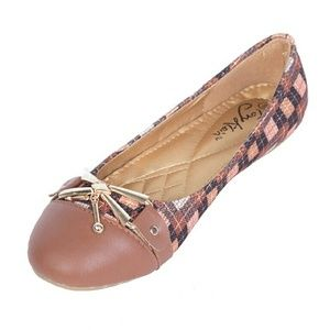 Tory Klein Shoes - Women Colorblock Flats with Bow, b-1615, Brown