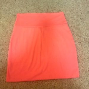 Bright peach mini skirt