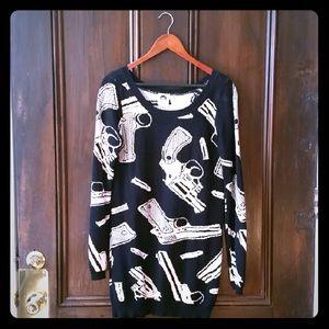 Vintage Betsey Johnson Guns Bullets Sweater Tunic