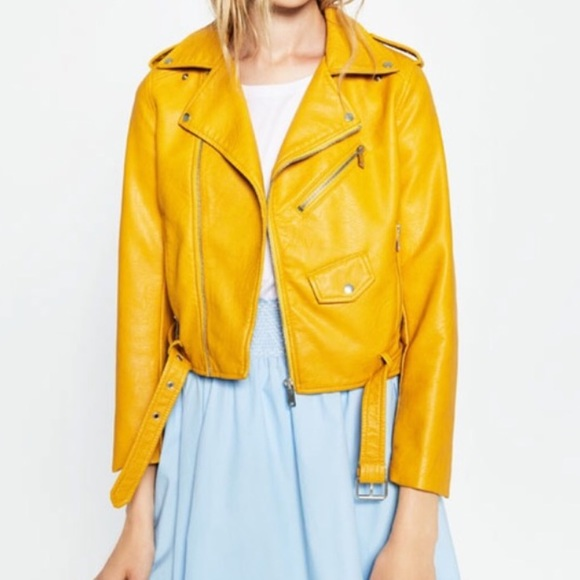 dcd02f75 Zara Jackets & Coats | Leather Jacket Mustard Yellow | Poshmark