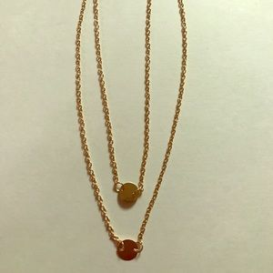 Dainty two layer gold chain choker necklace circle