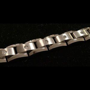 Titanium stainless steel diamond bracelet