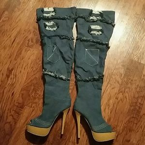 Peep Toe Denim Boots Size 9.5