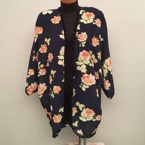 Xhilaration Tops - Floral Pom Pom Kimono