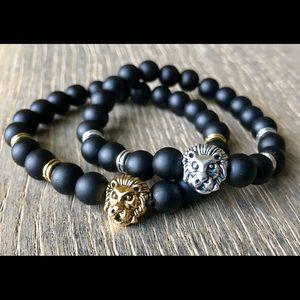 Other - Unisex Gold or silver matte black lion bracelet