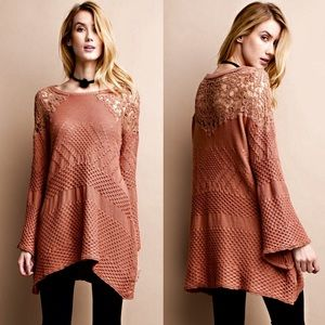LILIA knit sweater top w/ bell sleeves - PEACH