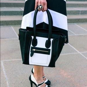 Handbags - Black & White purse/tote with cross body strap