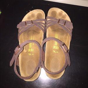 Birkenstock Shoes - Tan/Brown Birkenstock with butterfly straps