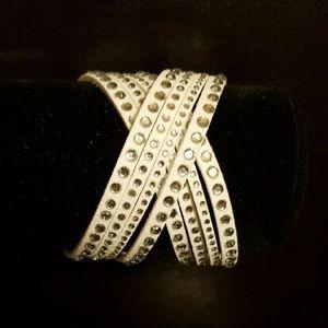 Jewelry - Vegan Leather Wrap Wristband Austrian Crystals