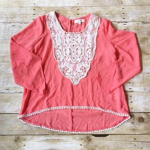 umgee Tops - Pink/orange umgee embroidered lace sheer top, s