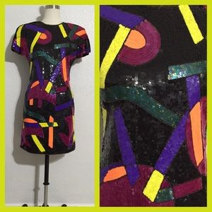 Vintage Neiman Marcus Sequin Dress