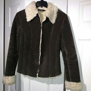 Express Jackets & Blazers - Express Brown Suede Shearling Coat 9/10