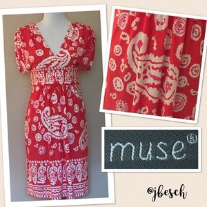 Muse Refined Dresses & Skirts - Muse Red Paisley Print Dress