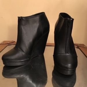 H&M Faux Leather Wedge Booties