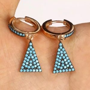 """SOLD💠TURQUOISE TRIANGLE""""EARRINGS • SS+ROSE BRONZE"""