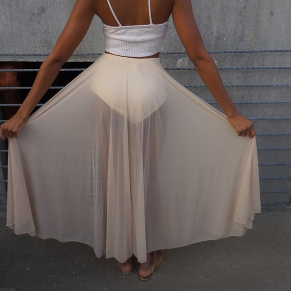 74a01fc7a328 Skirts | Nude Sheer Split Panty Luxe Maxi Skirt | Poshmark