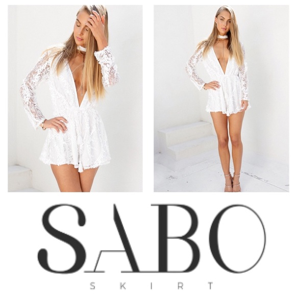 a79928b35ee NWT Sabo Skirt White Gisele Sequin Playsuit Romper