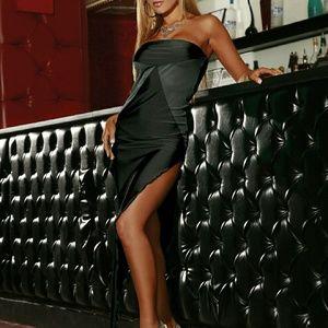 Electric Lingerie Black Bias Cut Evening Gown
