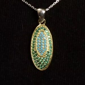Jewelry - 💚EMERALD•TURQUOISE•925 SILVER & BRONZE NECKLACE💚
