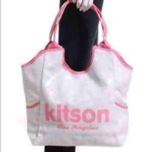 Kiton Handbags - Kitson white and pink sequined tote