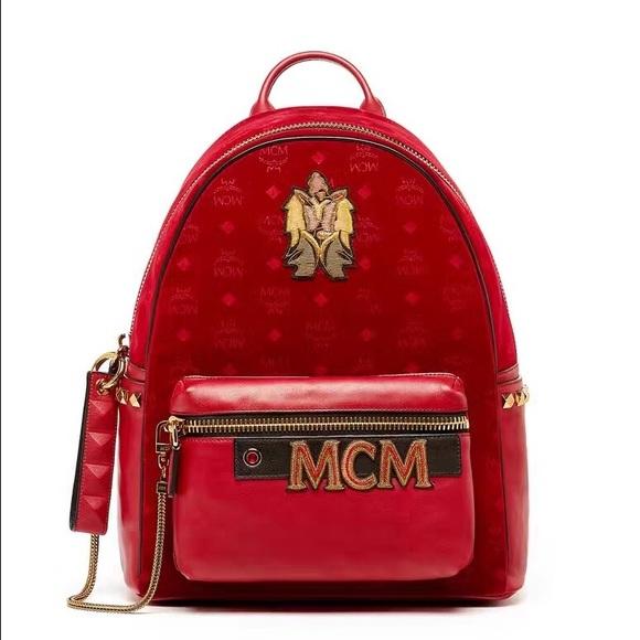 mcm bags stark velvet backpack poshmark rh poshmark com mcm backpack price mcm backpack palm