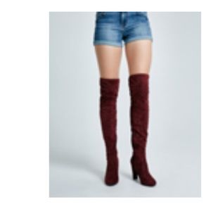 Wet Seal Shoes - Final Price Bordeaux Over The Knee Boots